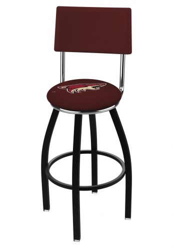 Arizona Coyotes Black Swivel Bar Stool with Back