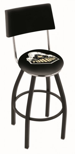 Purdue Boilermakers Black Swivel Bar Stool with Back