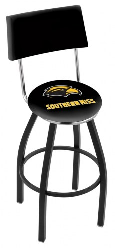 Southern Mississippi Golden Eagles Black Swivel Bar Stool with Back