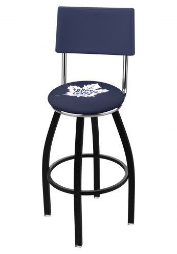 Toronto Maple Leafs Black Swivel Bar Stool with Back