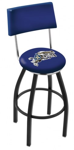 Navy Midshipmen Black Swivel Bar Stool with Back