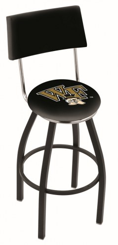 Wake Forest Demon Deacons Black Swivel Bar Stool with Back