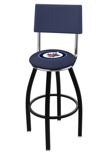 Winnipeg Jets Black Swivel Bar Stool with Back