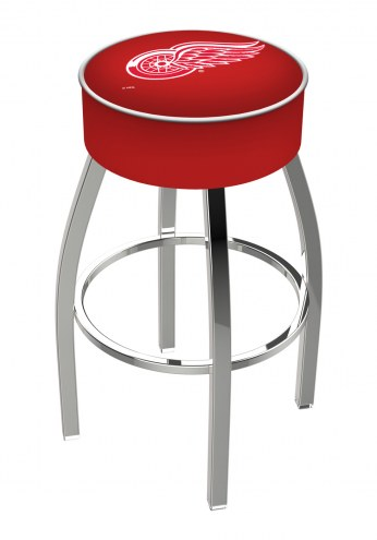 """Detroit Red Wings 4"""" Cushion Seat with Chrome Base Swivel Barstool"""