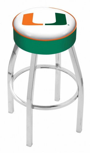 "Miami Hurricanes 4"" Cushion Seat with Chrome Base Swivel Barstool"