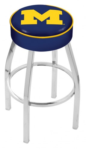 "Michigan Wolverines 4"" Cushion Seat with Chrome Base Swivel Barstool"