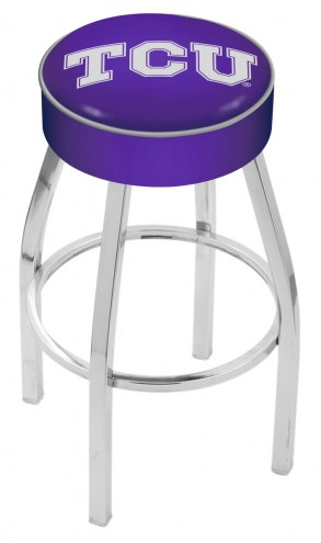 """Texas Christian Horned Frogs 4"""" Cushion Seat with Chrome Base Swivel Barstool"""