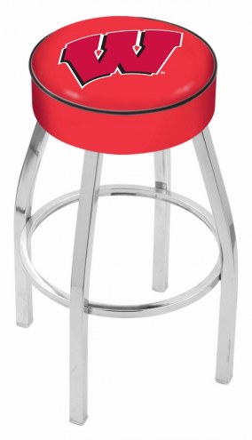 "Wisconsin Badgers 4"" Cushion Seat with Chrome Base Swivel Barstool"