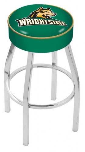 "Wright State Raiders 4"" Cushion Seat with Chrome Base Swivel Barstool"