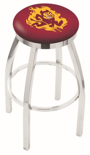 Arizona State Sun Devils Chrome Swivel Bar Stool with Accent Ring
