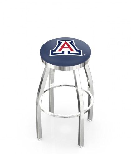 Arizona Wildcats Chrome Swivel Bar Stool with Accent Ring