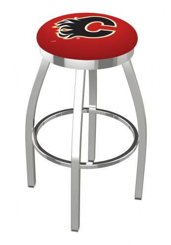 Calgary Flames Chrome Swivel Bar Stool with Accent Ring