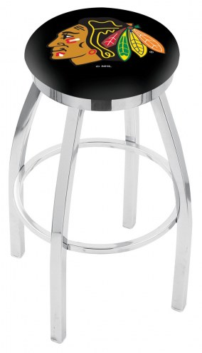 Chicago Blackhawks Chrome Swivel Bar Stool with Accent Ring