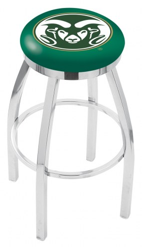 Colorado State Rams Chrome Swivel Bar Stool with Accent Ring