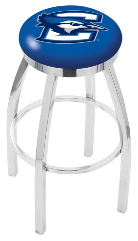 Creighton Bluejays Chrome Swivel Bar Stool with Accent Ring