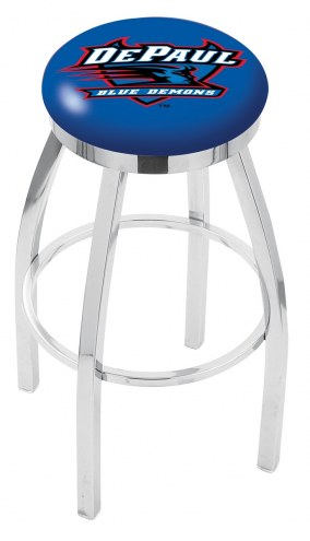 DePaul Blue Demons Chrome Swivel Bar Stool with Accent Ring