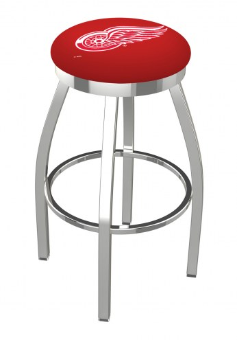 Detroit Red Wings Chrome Swivel Bar Stool with Accent Ring