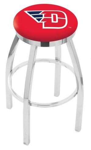 Dayton Flyers Chrome Swivel Bar Stool with Accent Ring