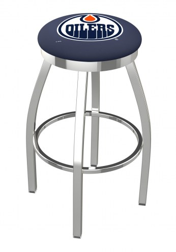Edmonton Oilers Chrome Swivel Bar Stool with Accent Ring