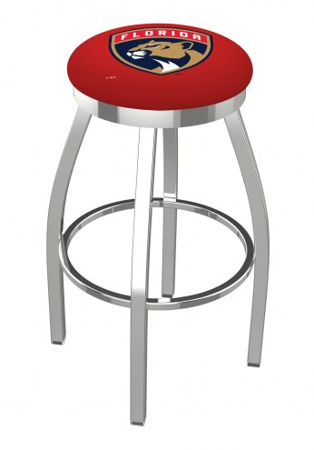 Florida Panthers Chrome Swivel Bar Stool with Accent Ring