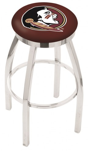 FSU Seminoles Chrome Swivel Bar Stool with Accent Ring