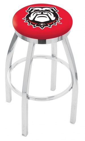 Georgia Bulldogs NCAA Chrome Swivel Bar Stool with Accent Ring