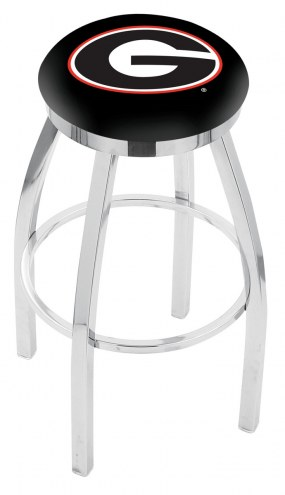 Georgia Bulldogs Chrome Swivel Bar Stool with Accent Ring