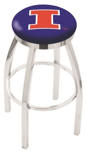Illinois Fighting Illini Chrome Swivel Bar Stool with Accent Ring