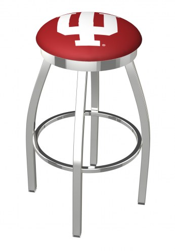 Indiana Hoosiers Chrome Swivel Bar Stool with Accent Ring