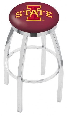 Iowa State Cyclones Chrome Swivel Bar Stool with Accent Ring