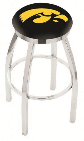 Iowa Hawkeyes Chrome Swivel Bar Stool with Accent Ring