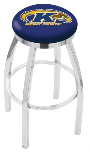 Kent State Golden Flashes Chrome Swivel Bar Stool with Accent Ring