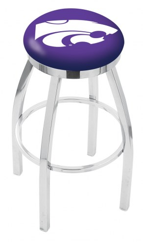 Kansas State Wildcats Chrome Swivel Bar Stool with Accent Ring