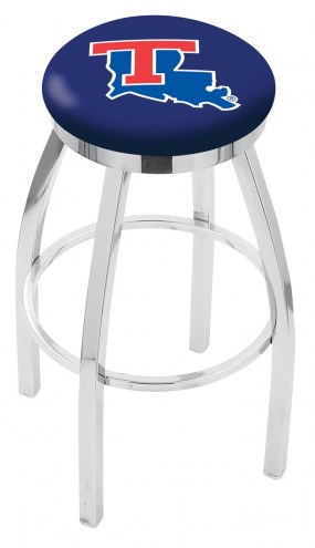 Louisiana Tech Bulldogs Chrome Swivel Bar Stool with Accent Ring