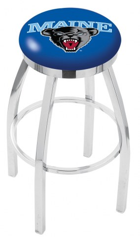 Maine Black Bears Chrome Swivel Bar Stool with Accent Ring