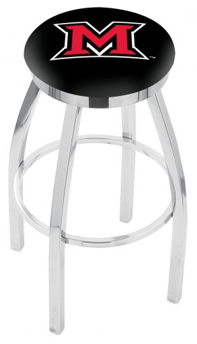 Miami of Ohio RedHawks Chrome Swivel Bar Stool with Accent Ring