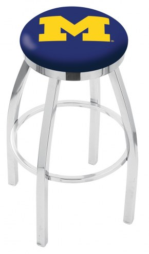 Michigan Wolverines Chrome Swivel Bar Stool with Accent Ring