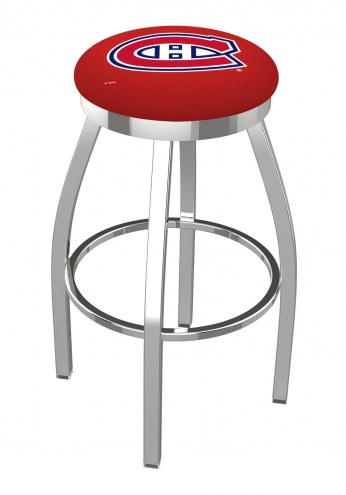 Montreal Canadiens Chrome Swivel Bar Stool with Accent Ring
