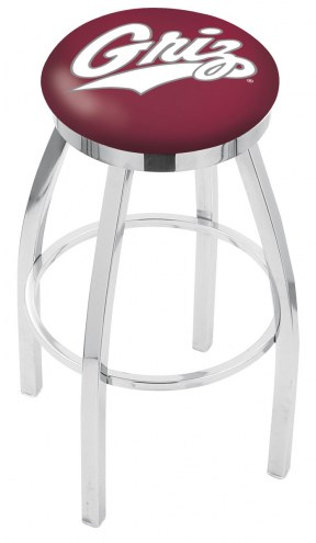 Montana Grizzlies Chrome Swivel Bar Stool with Accent Ring