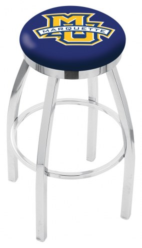 Marquette Golden Eagles Chrome Swivel Bar Stool with Accent Ring