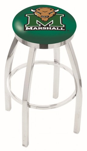 Marshall Thundering Herd Chrome Swivel Bar Stool with Accent Ring