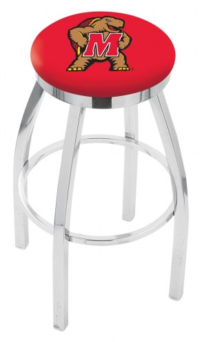 Maryland Terrapins Chrome Swivel Bar Stool with Accent Ring