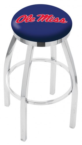Mississippi Rebels Chrome Swivel Bar Stool with Accent Ring