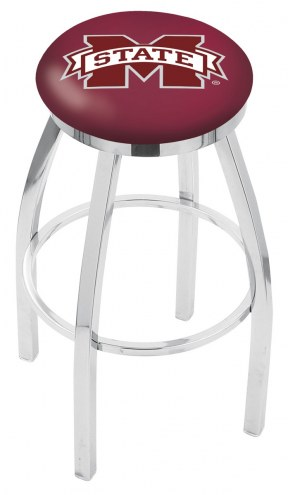 Mississippi State Bulldogs Chrome Swivel Bar Stool with Accent Ring