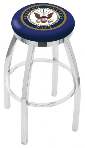 U.S. Navy Midshipmen Chrome Swivel Bar Stool with Accent Ring