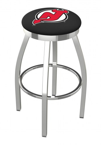 New Jersey Devils Chrome Swivel Bar Stool with Accent Ring