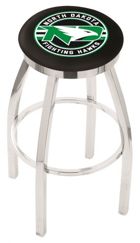 University of North Dakota Chrome Swivel Bar Stool with Accent Ring