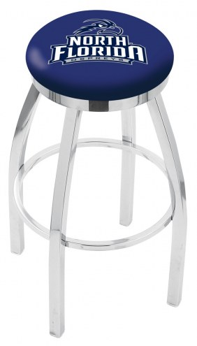 North Florida Ospreys Chrome Swivel Bar Stool with Accent Ring