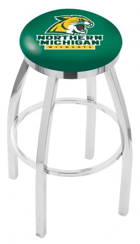 Northern Michigan Wildcats Chrome Swivel Bar Stool with Accent Ring