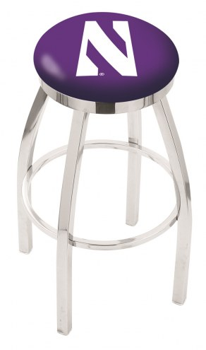 Northwestern Wildcats Chrome Swivel Bar Stool with Accent Ring